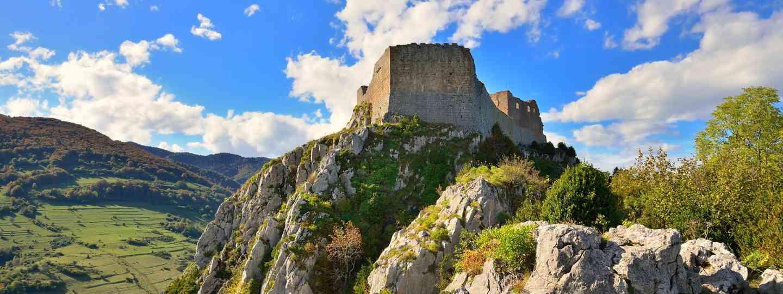 Montsegur Cathar castle in France (Dreamtime)