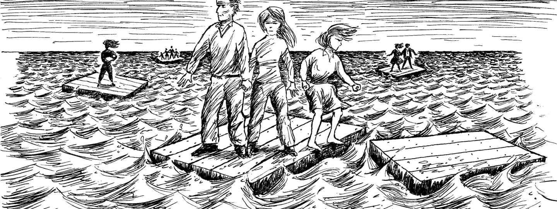 Cartoon of family adrift at sea (Shutterstock.com. See main credit below)
