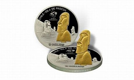 Pop up Easter Island moai coin (Wiki Images)