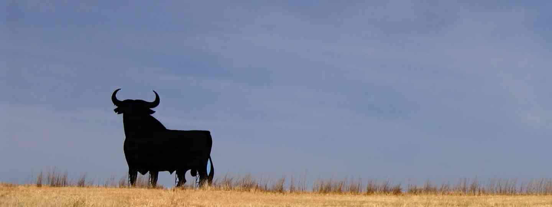 Bull sculpture in Spanish field (Dreamstime)
