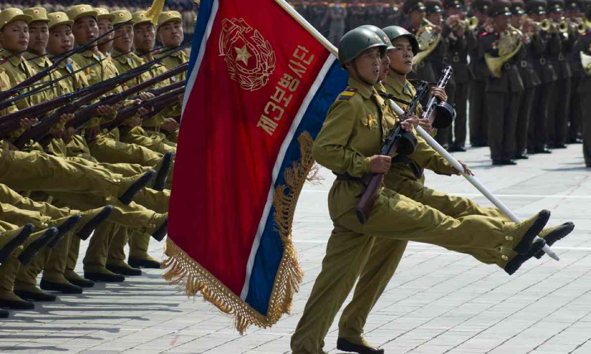 North Korean soldiers at a military parade in Pyongyang (Shutterstock)