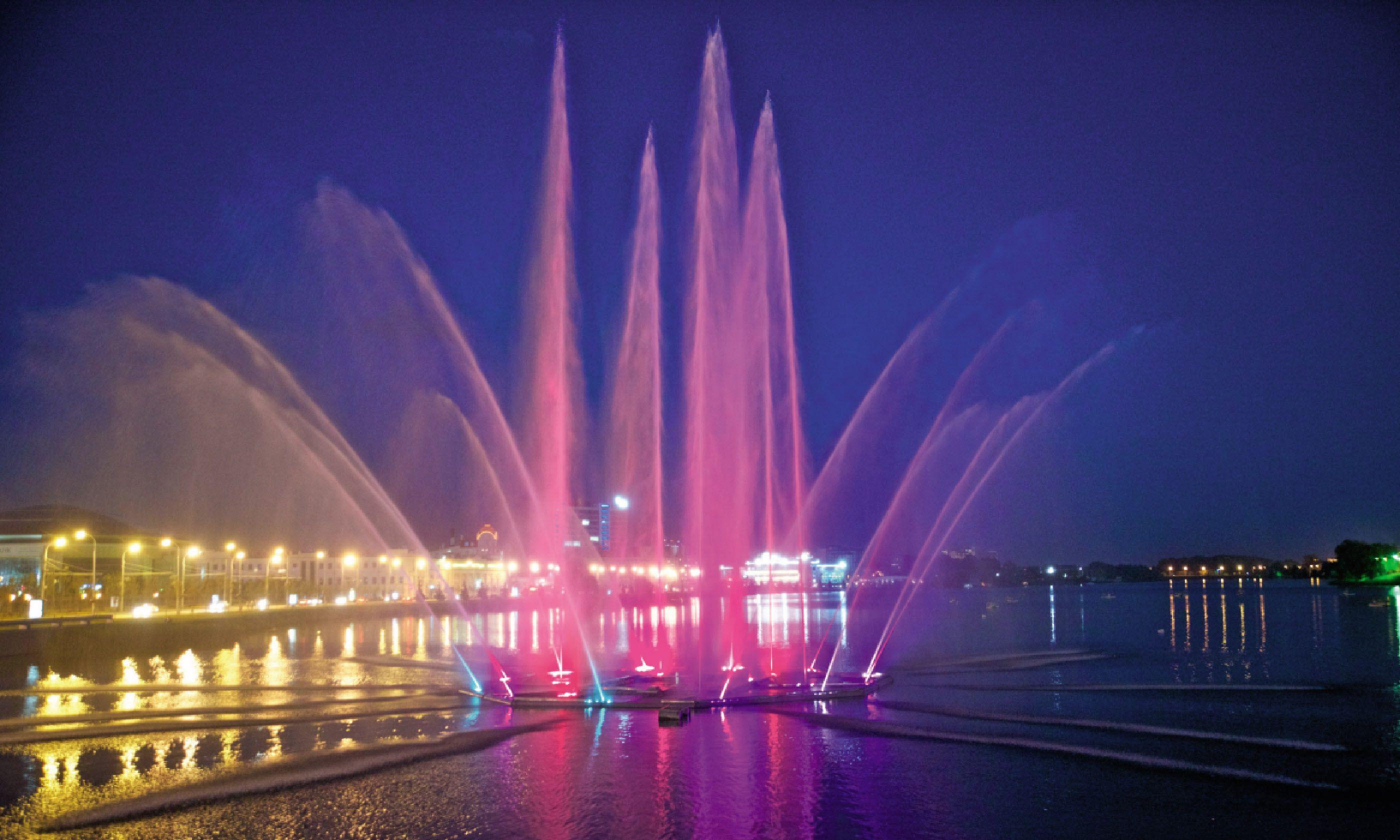 Tatarstan's night fountains