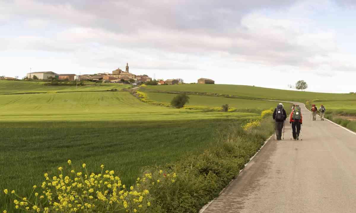 Pilgrims on the road to Santiago de Compostola. From Shutterstock.com