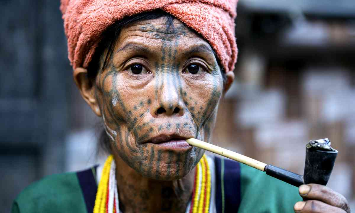 Tattooed woman from the Chin tribe (Dreamstime)