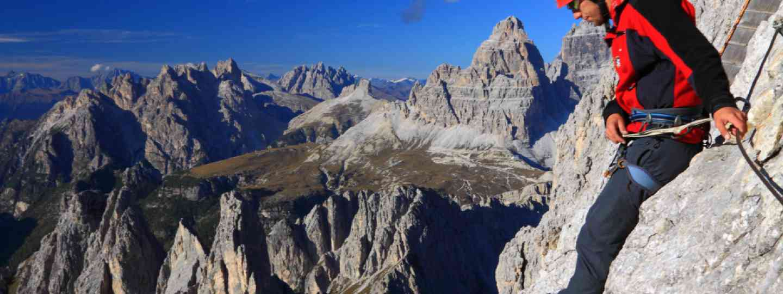 Climber on Merlone via ferrata, Dolomite Alps (Shutterstock: see credit below)