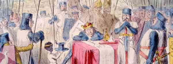 The Magna Carta being signed by King John, 1215, illustration by John Leech published 1875 (Shutterstock: see credit below)