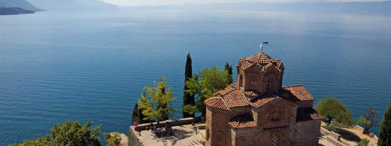 St John at Kaneo Church overlooking Lake Ohrid, Macedonia (Lyn Hughes)