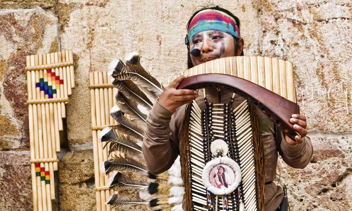 Andean Indian playing traditional instrument (Shutterstock.com)