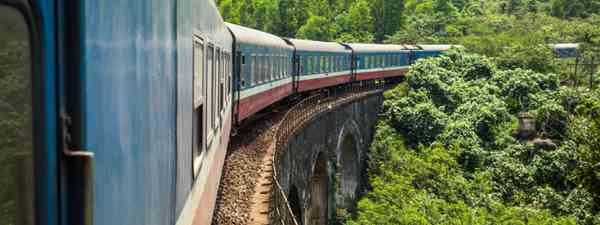 Train on viaduct, Vietnam (Shutterstock)