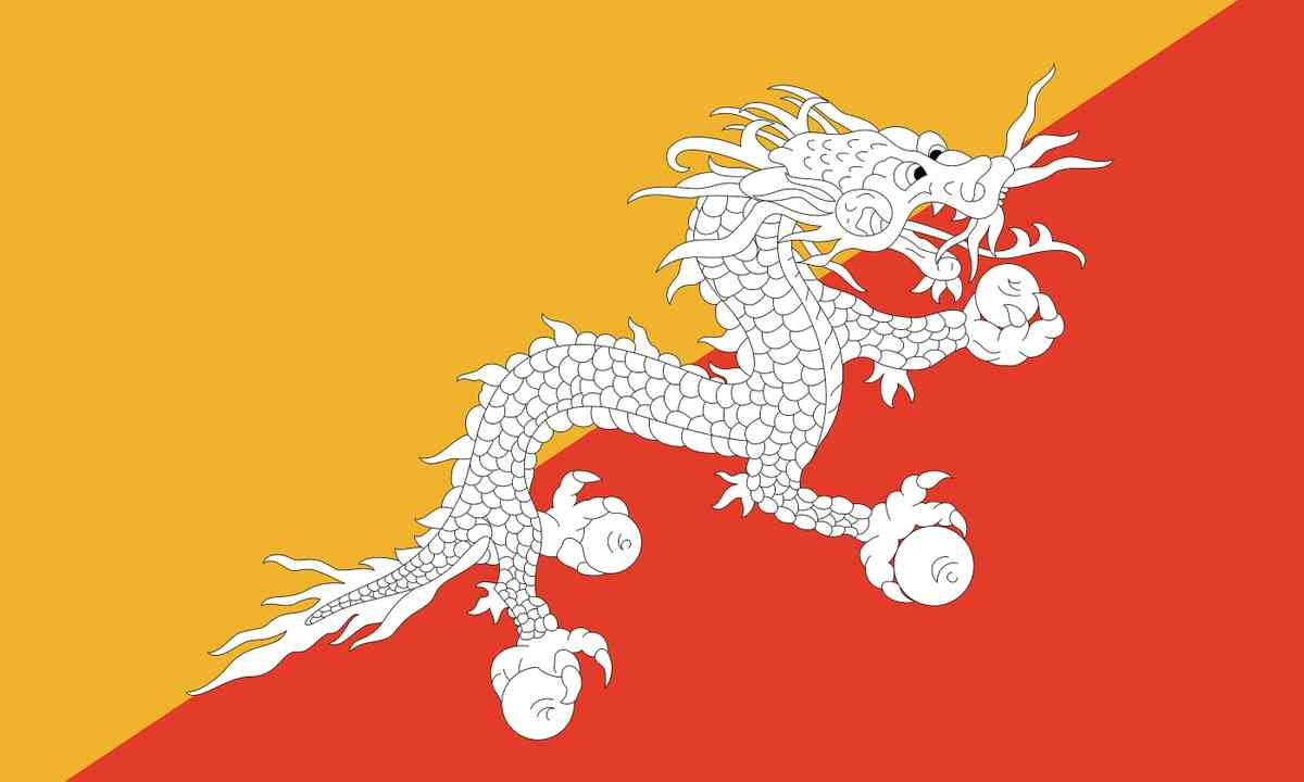 National flag of Bhutan (Shutterstock.com)