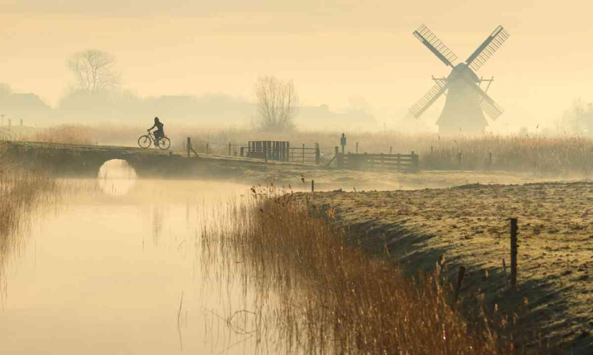 Dutch cyclist on a foggy morning (Shutterstock)