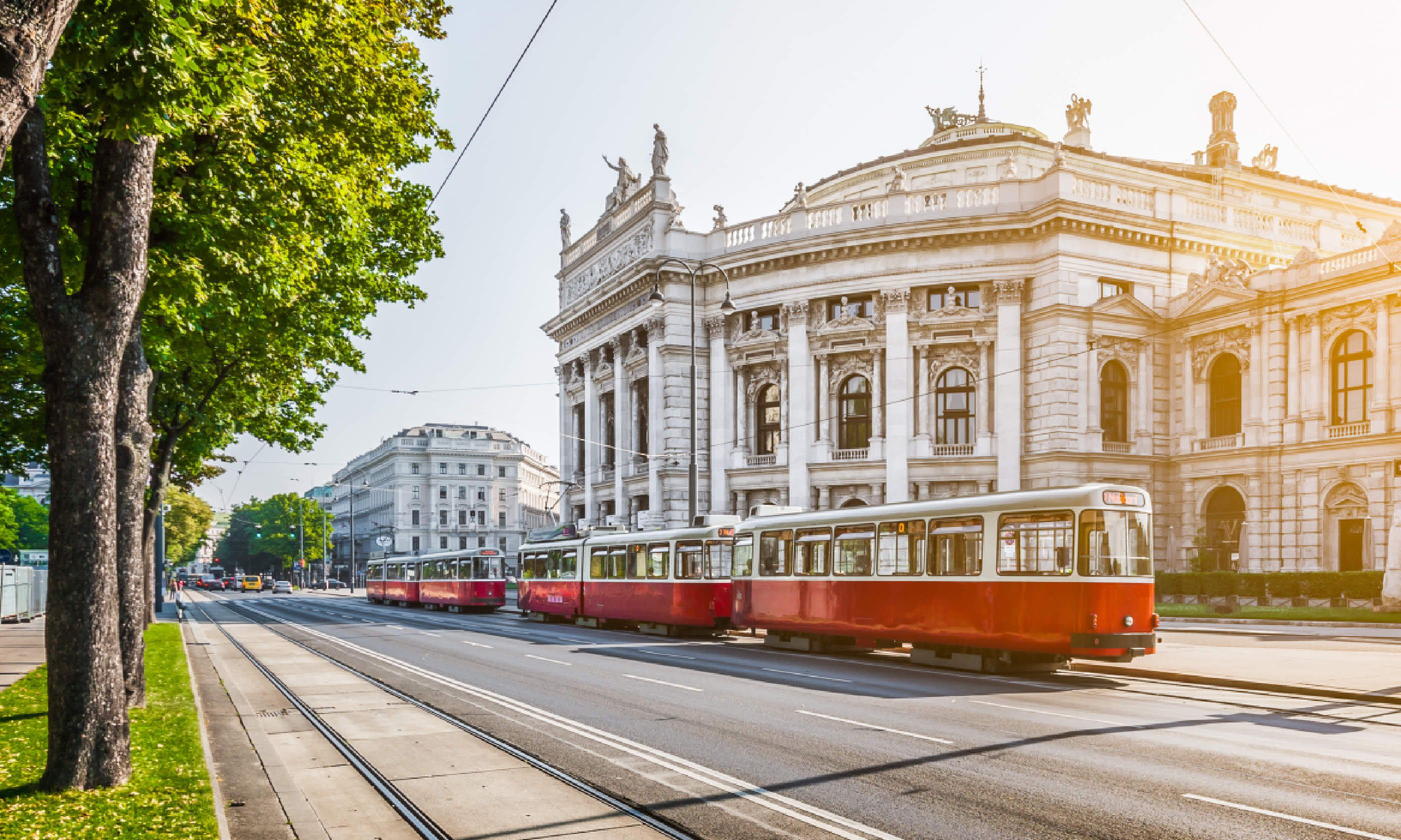 Wiener Ringstrasse with historic Burgtheater and red electric tram (Shutterstock)