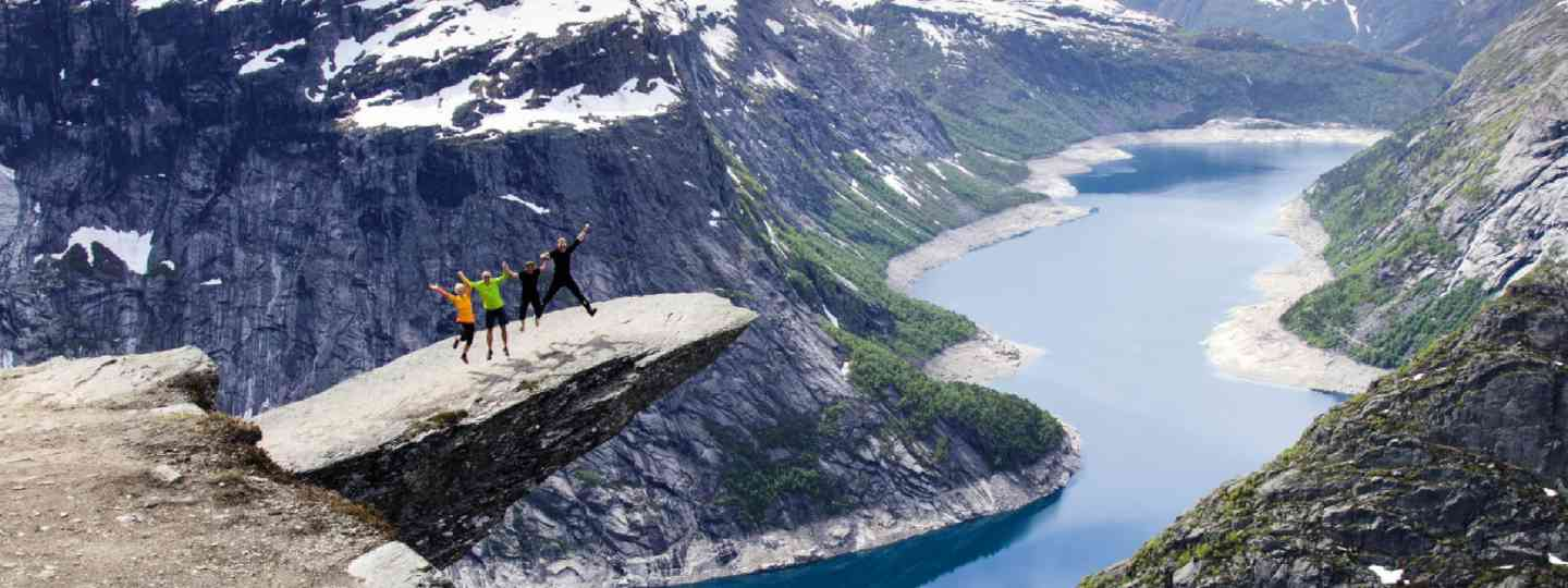 Jumping for a photo on Trolltunga (Neil S Price)