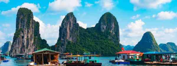 Floating fishing village in Vietnam