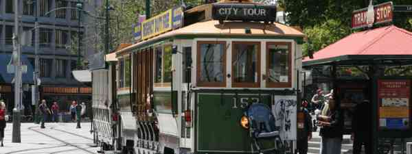 Restored tram in Christchurch's Cathedral Square, New Zealand (Shutterstock)