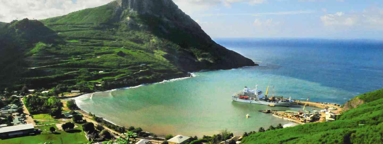 The Aranui V in the bay of Ua Pou (Emma Thomson)