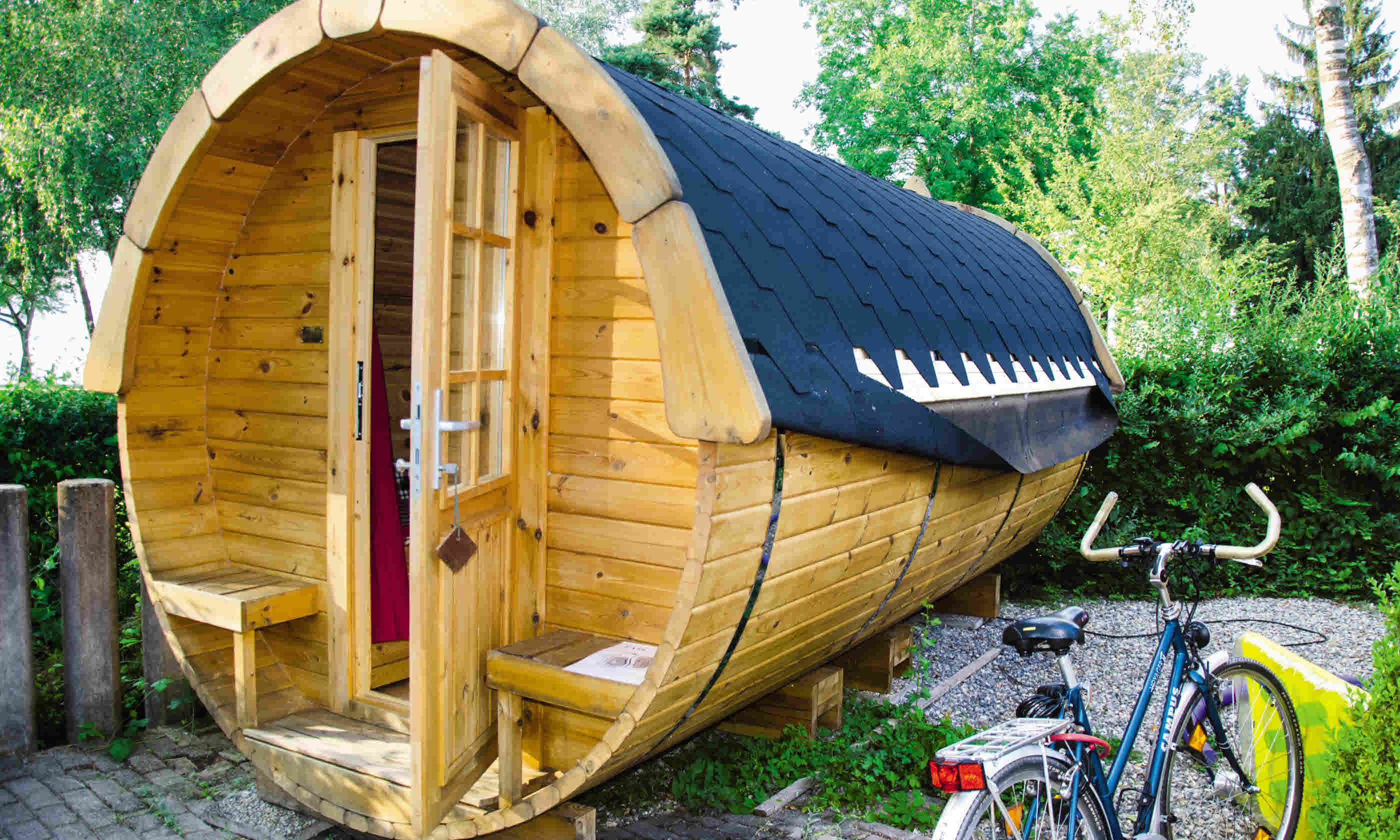 The wine barrel glamping pods at Klausenhorn Campsite (Neil S Price)