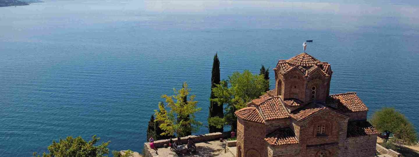 St Jovan Kaneo church overlooking Lake Ohrid (Lyn Hughes)