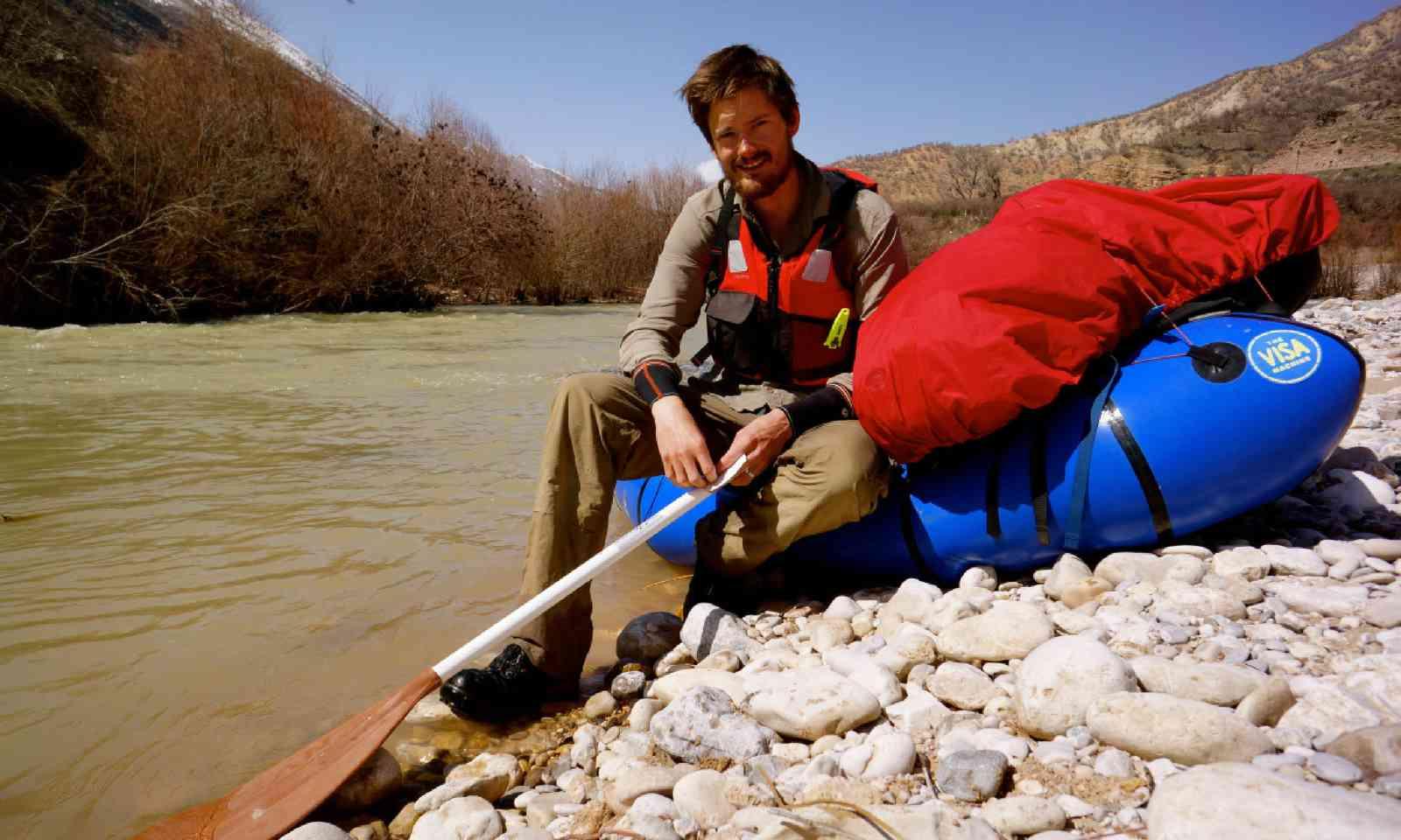 Leon preparing to set off in his inflatable kayak