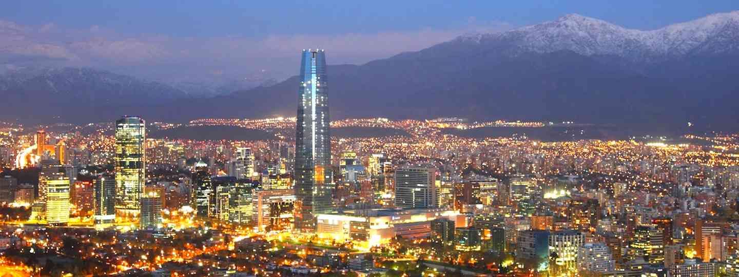 Santiago and surrounding mountains in the evening (JE Jaeger)