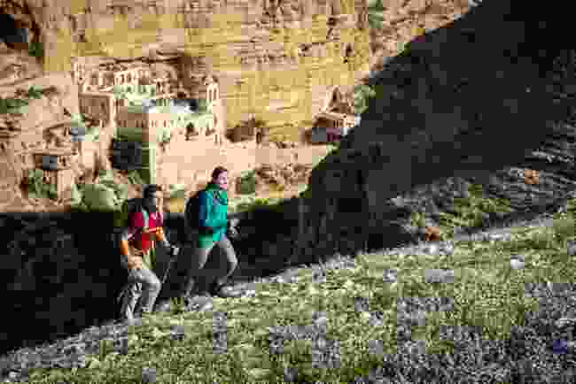 Hikers on hillside near Jericho (Masar Ibrahim)