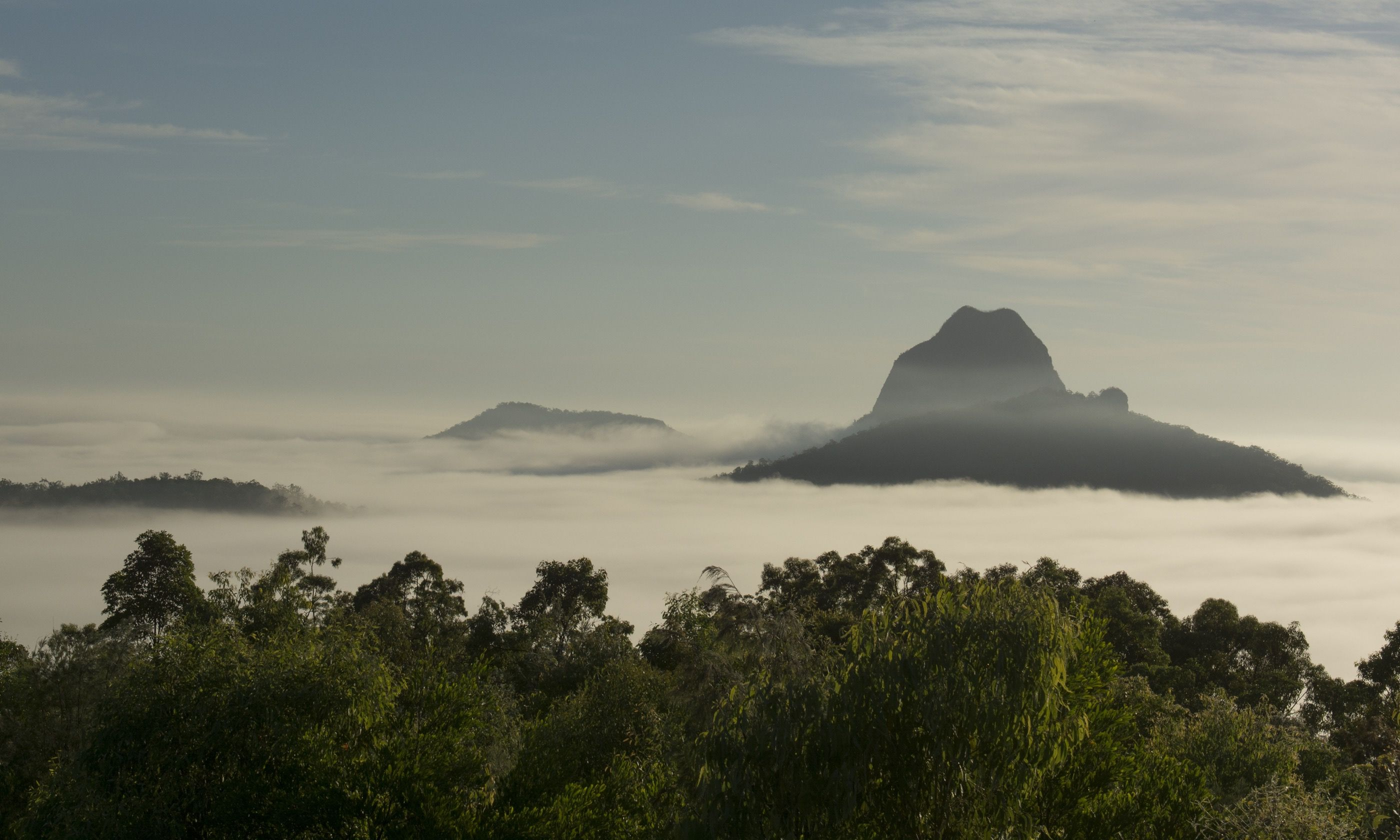 Glass House Mountains in the mist (Shutterstock.com)
