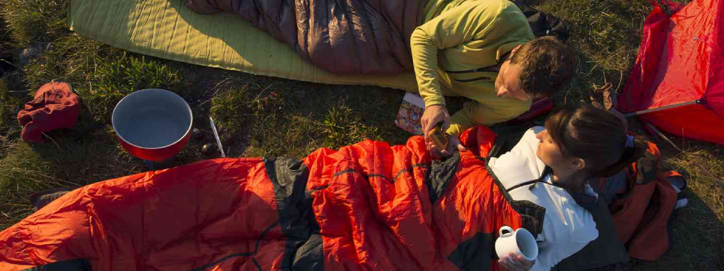 Trekking and overnight with sleeping bag (Shutterstock: see credit below)