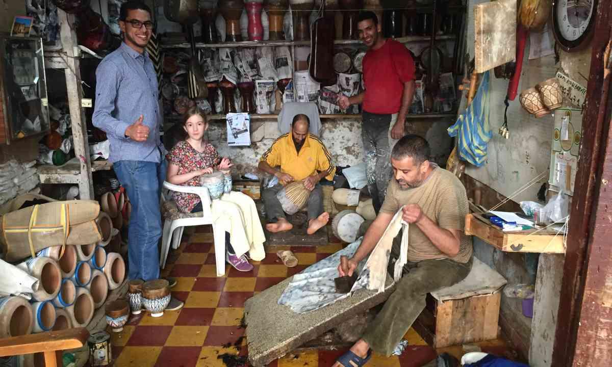 Drum making workshop, Fez (Peter Moore)