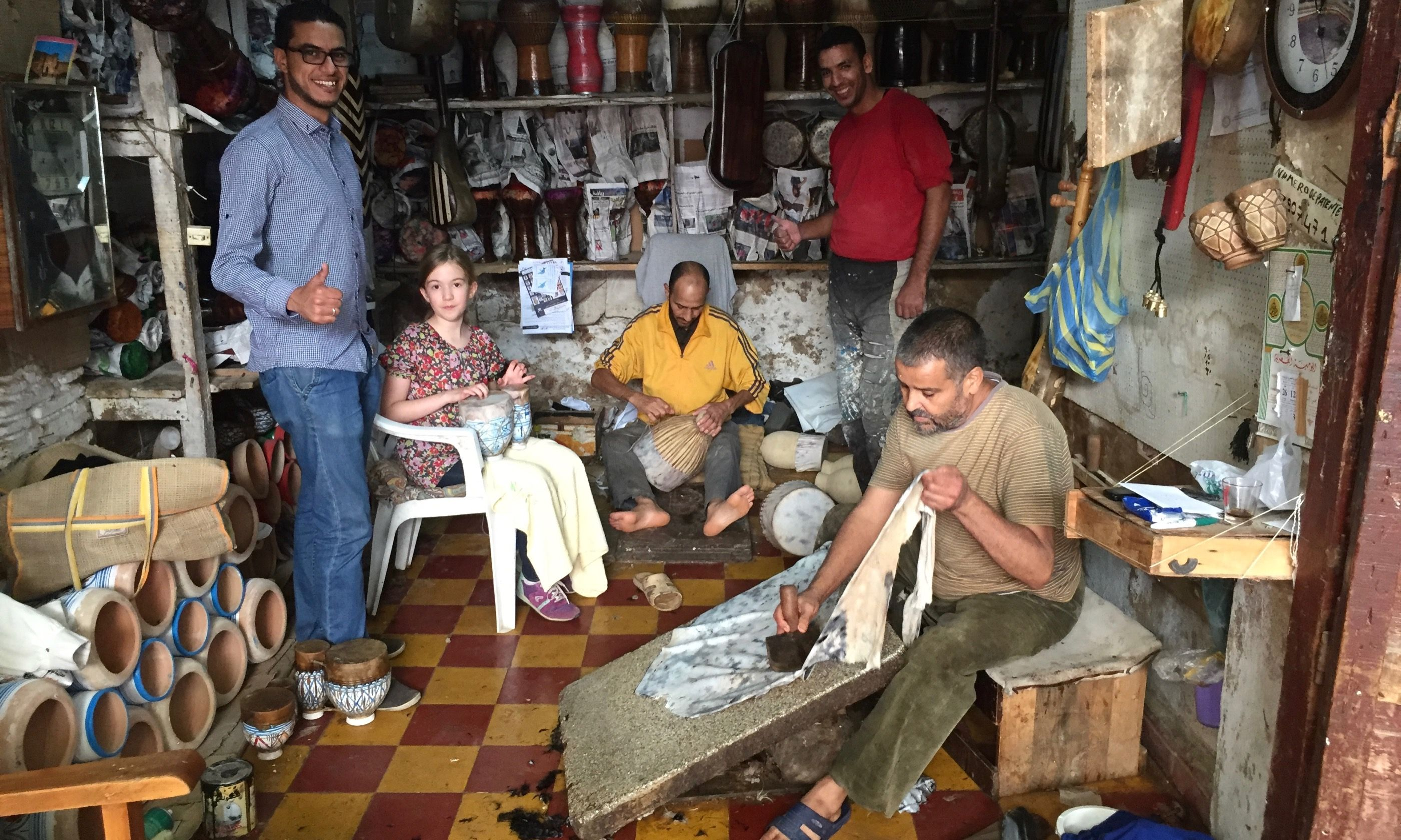 Drum making workshop, Fez (Peter Moore)