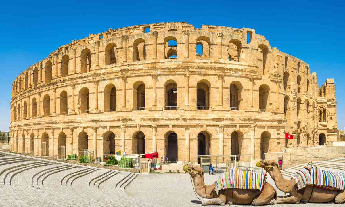 The Amphitheatre of El Jem with camels (Shutterstock.com)