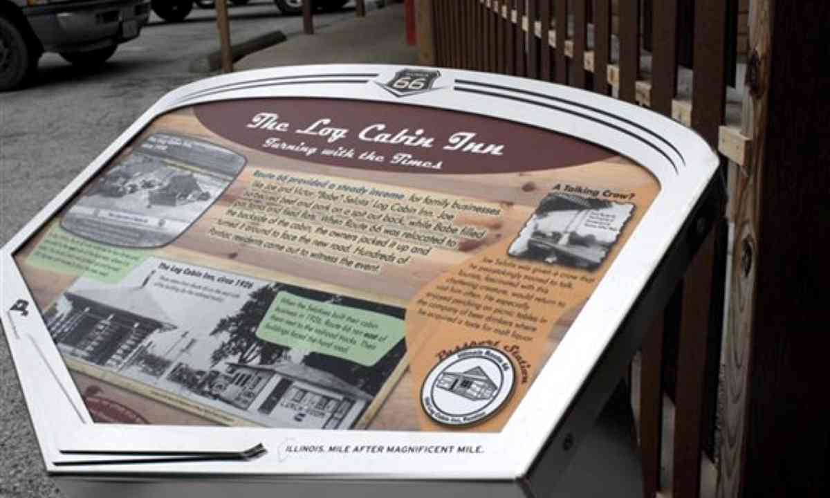 Wayside exhibit for The Log Cabin Inn (www.enjoyillinois.com)
