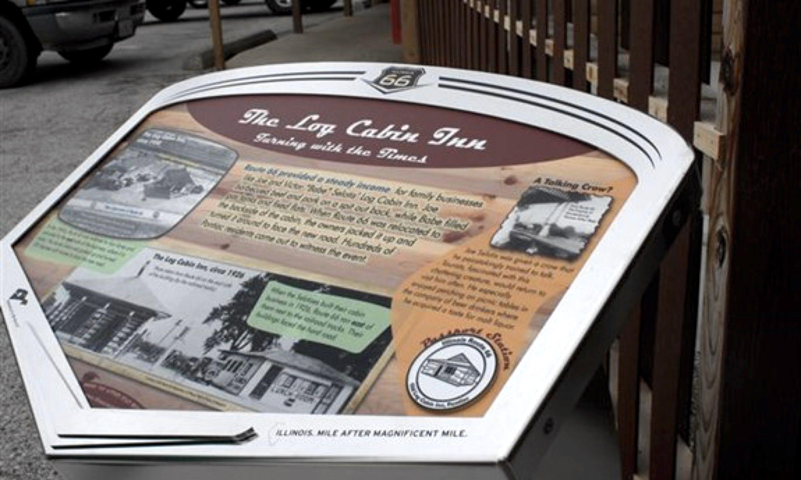 Wayside exhibit for The Log Cabin Inn (www.enjoyillinois.com)