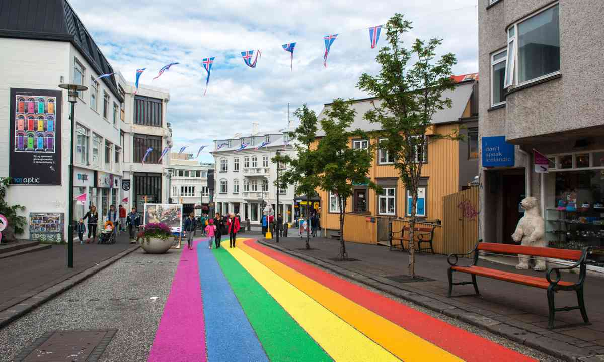 Streets of Reykjavik painted for the annual Pride event (Shutterstock.com)