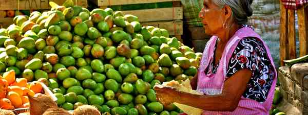 Woman selling fruit at a merket in Mexico (Dreamstime)