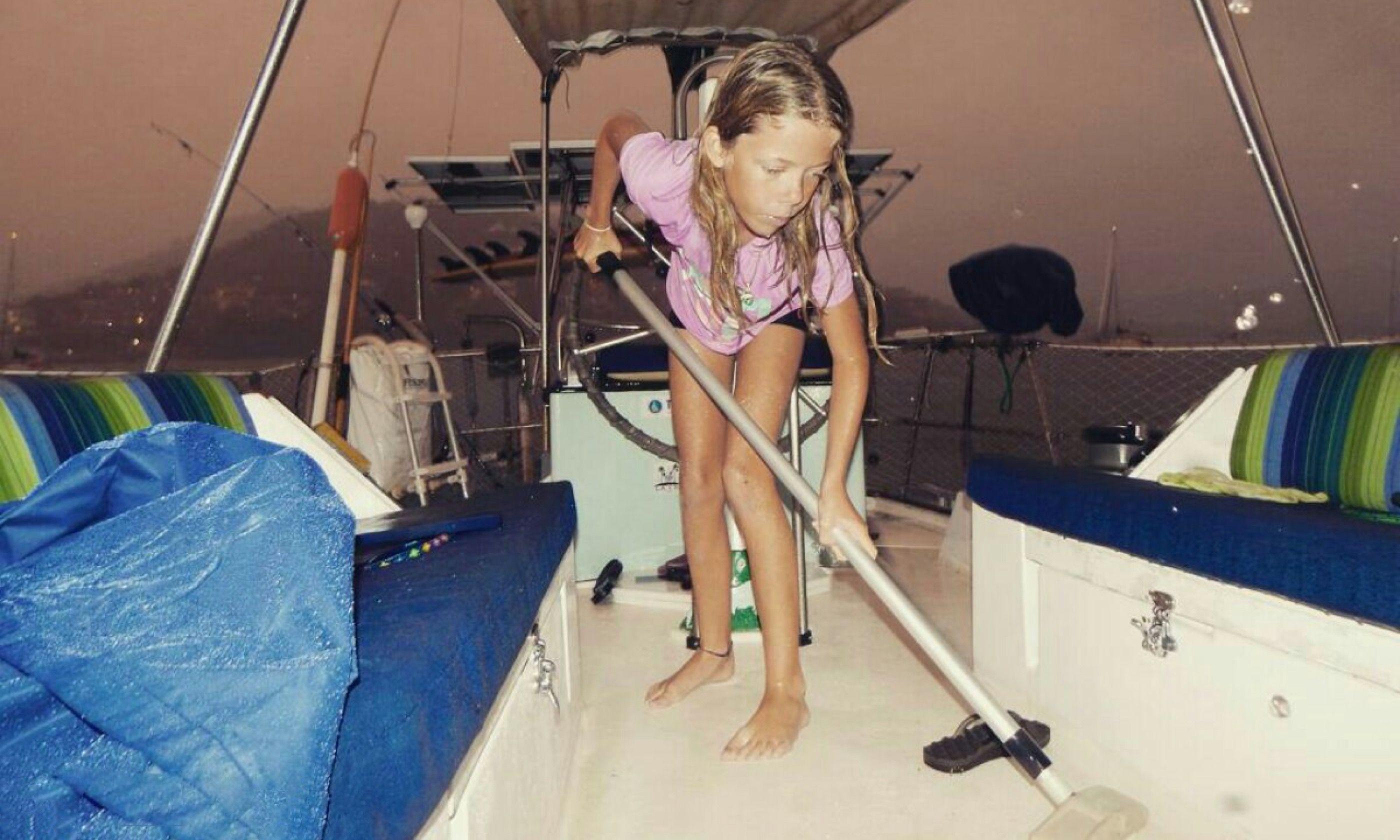 Scrubbing decks (Aimee Nance)