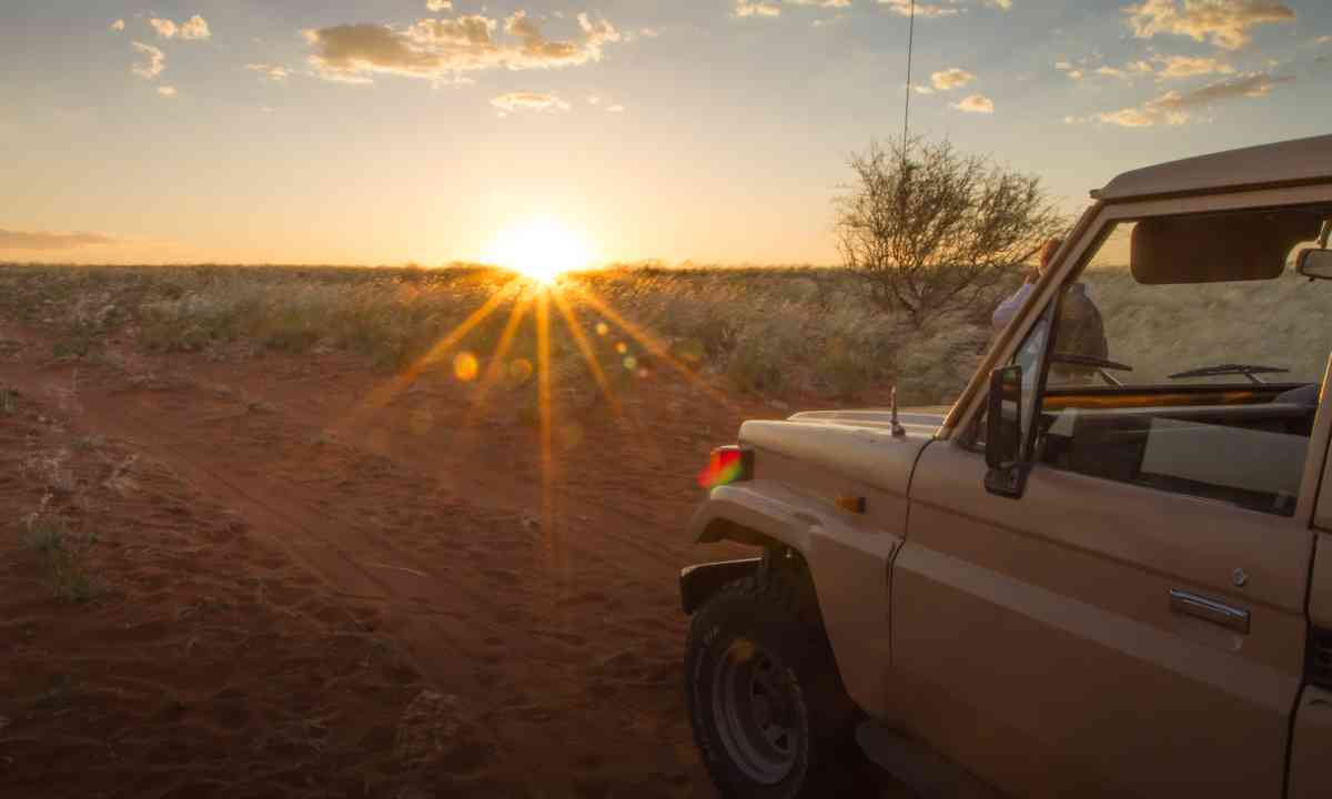 Driving at sunset in Namibia (Dreamstime)