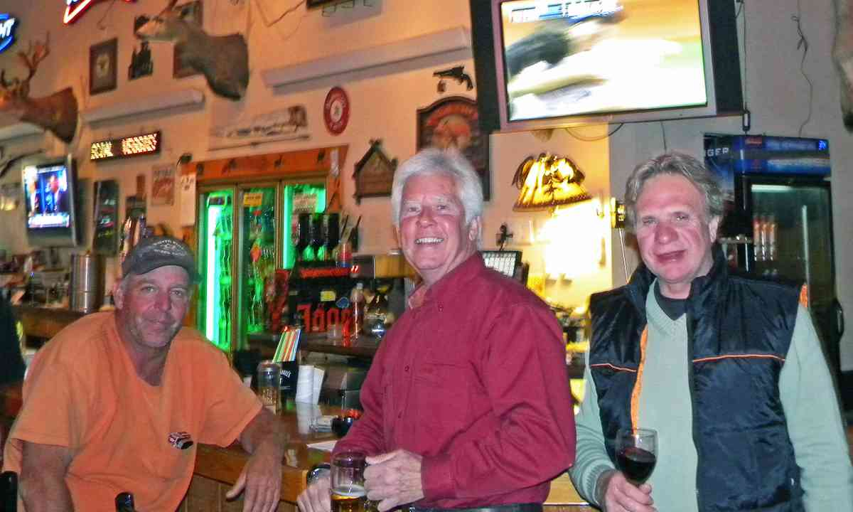 Sharing hunting tips in the bar in Wells (Stephen W. Starling)