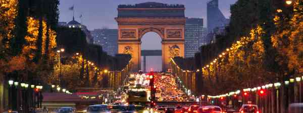 Champs-Elysees at night (Shutterstock)
