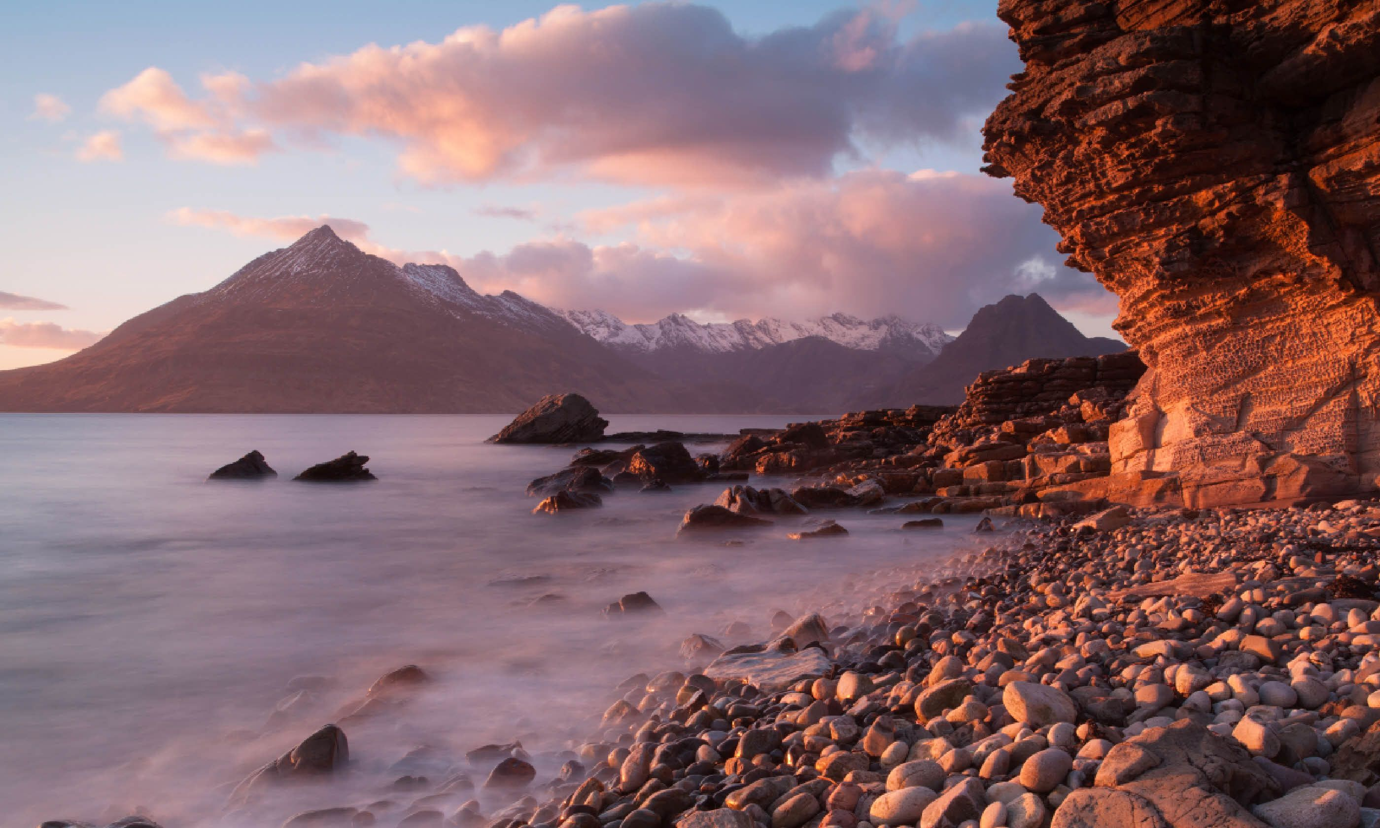 Elgol beach at sunset, looking towards the Cuillin mountains (Shutterstock)