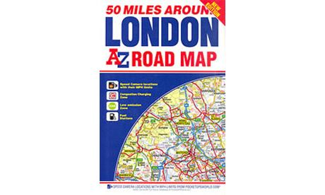 50 Miles Around London - A-Z Road Map
