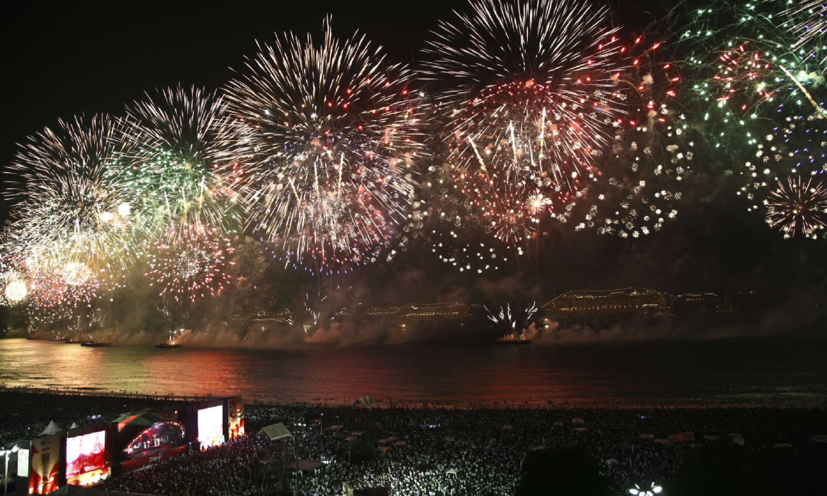Spectacular fireworks display at Copacabana beach (Shutterstock)