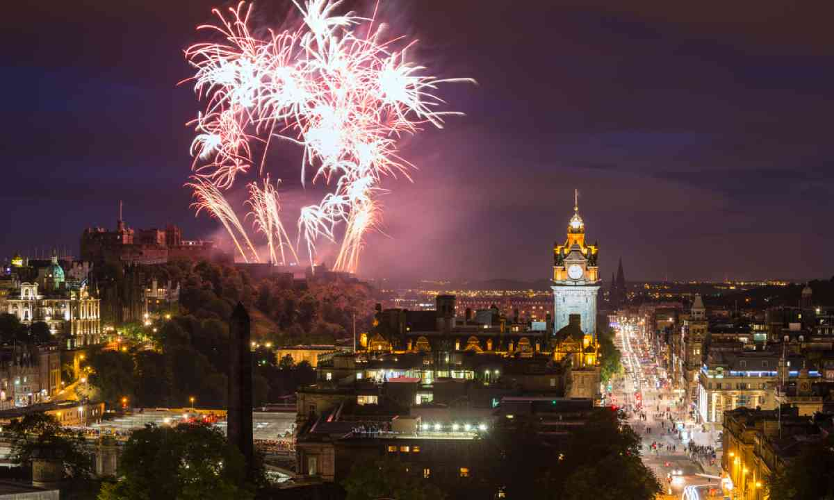 Edinburgh Cityscape with fireworks over The Castle (Shutterstock)