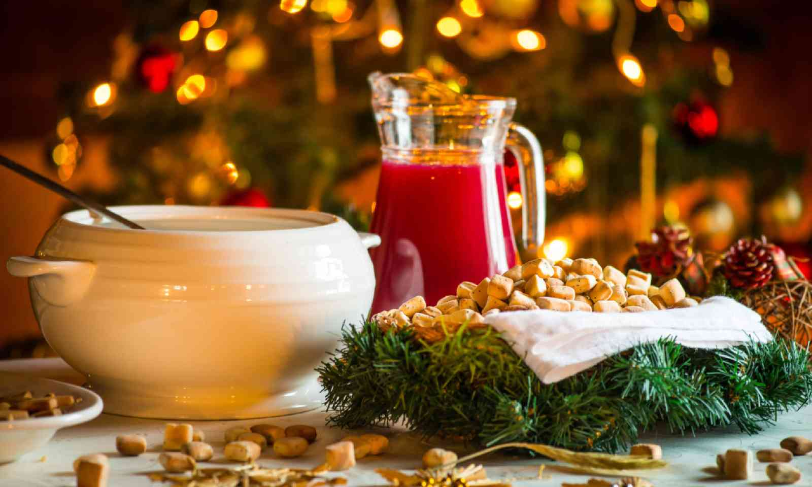 Traditional Lithuanian Christmas Eve treats including kuciukai pastries, cranberry kissel and poppy seed milk (Shutterstock)