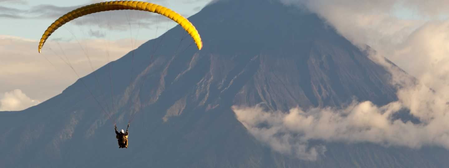 Paragliding over Tungurahua volcano in Ecuador (Shutterstock: see credit below)