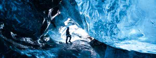 Inside an icecave in a glacier, Iceland (Shutterstock: see credit below)