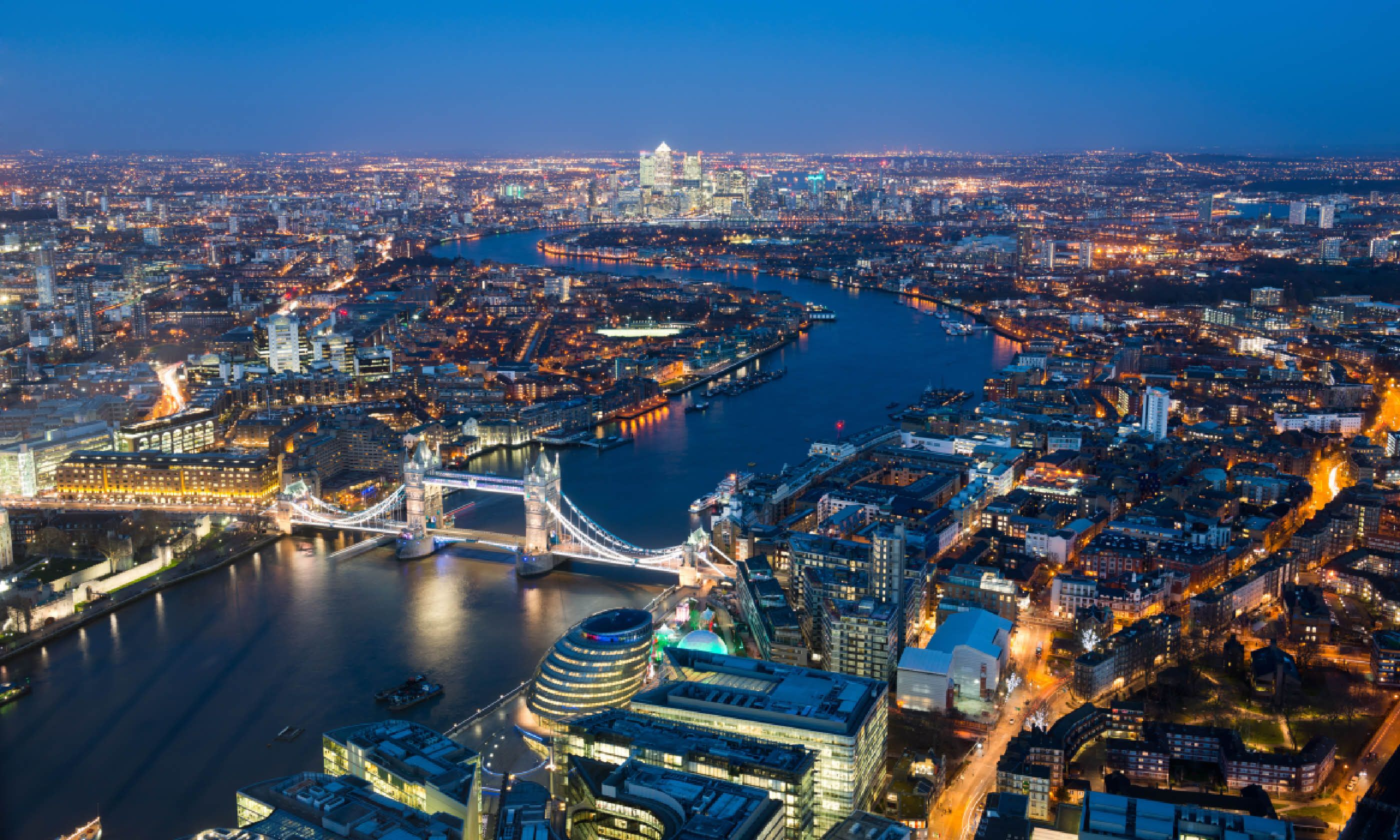 Aerial view of Tower Bridge (Shutterstock)