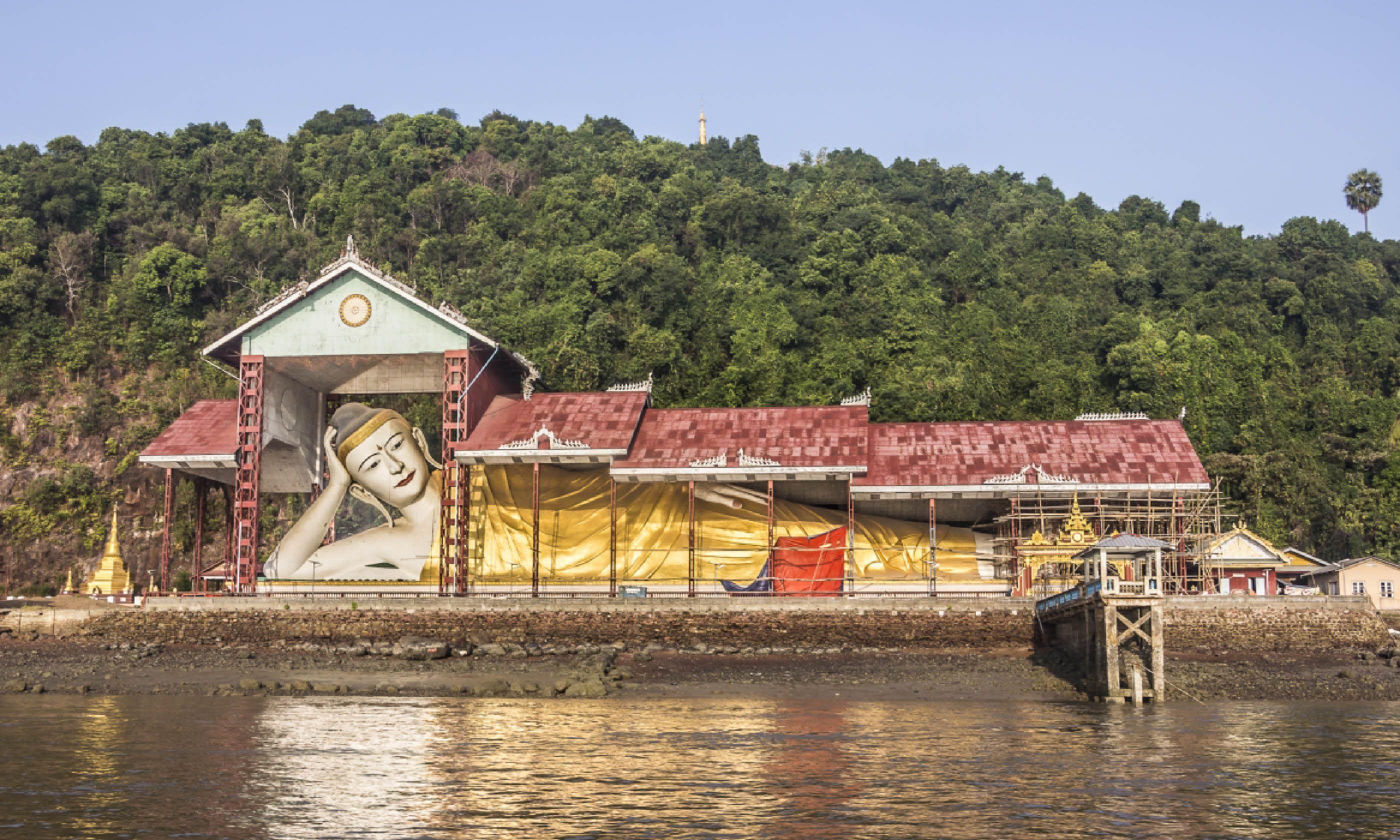 Giant reclining Buddha at the harbor of Myeik (Shutterstock)